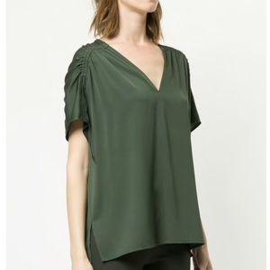 VINCE Green Silk Blend V-neck Blouse